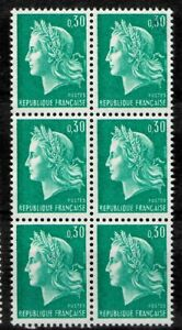 FRANCE 1969 BLOC 6 TIMBRES NEUF SANS GOMME N° 1536A MARIANNE CHEFFER 0.30FR