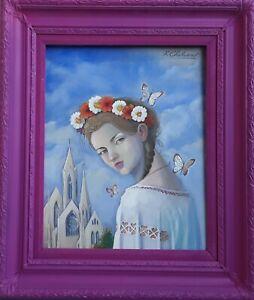 Kamen Chalakov Butterfly Queen Acrylic Painting on Board 20x16