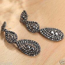 Long Ear Stud Hoop earrings 114 Handmade 1pair Woman's Multi Crystal Rhinestone