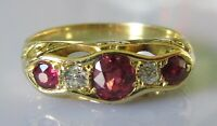 Vintage 18ct yellow gold ruby diamond 5 stone ring size N