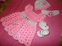 Hand crochet baby girl set, dress, headband, hat, Shoes by Rocky Mountain Marty