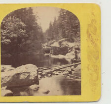 Man Fishing Emeral Pool White Mountains NH Stereoview c1875