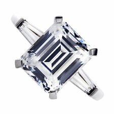 18kt K VS 2.20ct Three-Stone Emerald Cut Diamond with Baguettes Engagement Ring