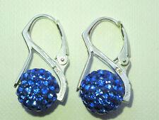 Shamballa Earrings Blue Crystal Disco Ball Silver 925 Sterling Earrings CC109