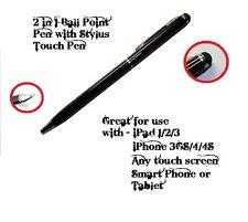 BLACK 2 in 1 BALL POINT PEN & STYLUS TOUCH PEN APPLE IPAD 2 3 IPHONE 3 3GS 4 4S
