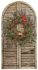"CHRISTMAS SHUTTER TWIG WREATH CANDLE LED LIGHTED CANVAS PRINT 24 1/2"" X 13"""