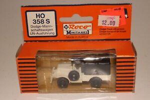 ROCO MINITANKS #358S DODGE TRANSPORT TRUCK, WHITE, 1:87 HO SCALE, NEW IN BOX