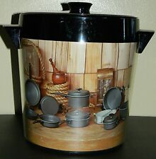 Vintage Thermo Serv Ice Bucket Country Kitchen Decor Rope Straw Cookware