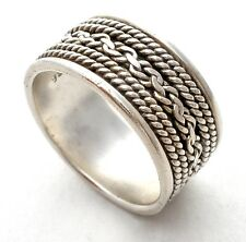 Wide Band Sterling Silver Braided Ring Size 6.5 925 Vintage Stackable Jewelry