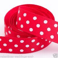 Full Roll 10m Polka Dot Grosgrain Ribbon - Red - Crafts - Sewing
