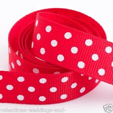 Polka Dot Grosgrain Ribbon 10mm X 45m Various Colours 50 Yards Red