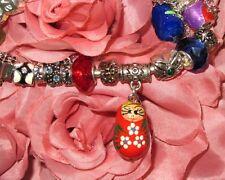 Tiny hand painted TIBETAN Charm UNIQUE RUSSIAN DOLL EUROPEAN Bead Snake Bracelet