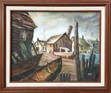 Anna E. Munch (1876-1960) Original Oil Painting. Ocean, Boat Yard, Seascape🖼