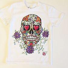 Custom Sugar Skull Hand Painted 2t Hipster Baby Art Tee Tshirt Blue Halloween