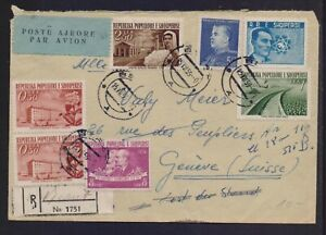 ALBANIA 1959 REGISTERED (BERAT) AIR MAILED COVER TO SWITZERLAND AND LENIN/MARX
