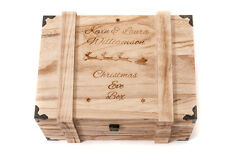Personnalisé gravé noël boîte vintage en bois coffre chêne grande boîte