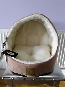 House of Paws Tan Suede / Sheepskin Hooded Cat / Small Dog Bed