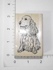 Super cute seated Spaniel Dog Wood Mounted Rubber Stamp Cards Scrapbooking S17