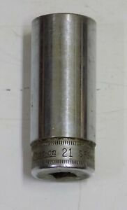 SNAP-ON TOOLS. DEEP SOCKET 21MM. 3/8 DRIVE. ITEM NUMBER  SFS M21. MADE IN USA!.