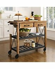 RECYCLED MANGO HARDWOOD IRON SHELVES BUTLER'S TROLLEY ON WHEELS TABLE ON WHEELS