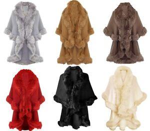 Handbag Bliss Beautiful Fine Knit Faux Fur Trimmed Shawl Cape One Size Stunning!
