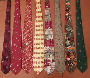 Disney & Tie Rack lot 8 neckties 100% silk Donald Duck Roger Rabbit Dalmatians