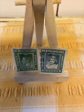 More details for 1938 royal family issues newfoundland 2 and 4 cent stamps blue green