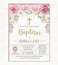 Baptism Invitation Pink Gold Floral Christening Photo Invite Christian Flowers