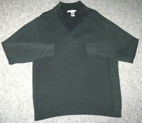 Green Sweater Solid Polo Collared Large Cotton Geoffrey Beene Men's Man's Top