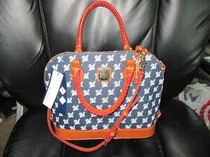 NEW Women's Dooney & Bourke MLB Milwaukee Brewers Navy Satchel Handbag Purse