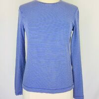 J Crew Womens Shirt Large Blue Stripe Long Sleeve Artist Tee Cotton Stretch Base