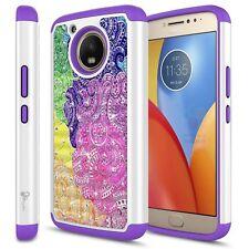 Motorola Moto E4/E4 Plus Hybrid Hard Diamond Bling Case Protective Cover + Emoji