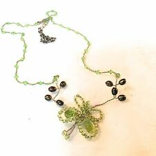Cousin Claudine Peridot butterfly with pearls and knotted silk cord