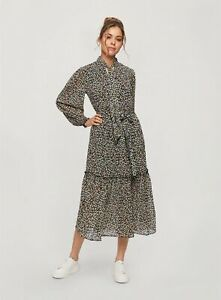 Miss Selfridge Womens Black Ditsy Tie Neck Smock Dress Long Sleeve Midi Daywear