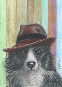 Border Collie dog in fedora hat orig ACEO ATC painting Susan Alison sheepdog