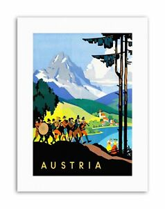 AUSTRIA ALPINE MOUNTAINS TRADITIONAL BAND LAKE Travel Canvas art Prints