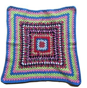 Hand Made Pet dog Blanket 73cm x 75cm Crocheted Knitted