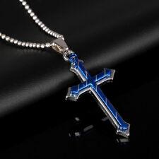 Fashion Men Stainless Steel Blue Gun Black Cross Pendant Chain Unisex's Necklace