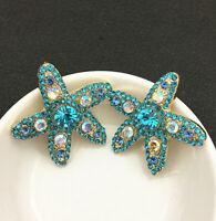 Blue/Purple Crystal Rhinestone Starfish Stud Earrings
