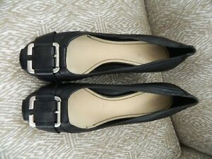 Women's NINE WEST Tuffy  black leather wedge shoes with silver buckle size 8M