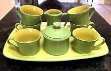 10pc Vtg MIKASA Coffee Set Mexican Rainbow Pinata Yellow Green 622 Ben Seibel