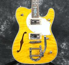 Starshine Special F Hole TL Electric Guitar Quilted Maple Alalone Inlay Bigsby