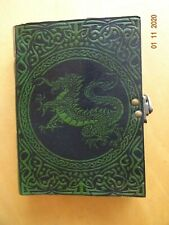 Green Dragon Leather Bound Note Book Brass Clasp Lock Handmade Khaddar Paper NEW