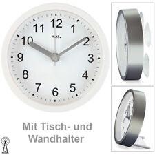 AMS 5927 Wanduhr Tischuhr Baduhr Badezimmeruhr Funk weiß wasserdicht. Ø ca 16 cm