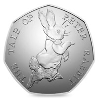 Easter Beatrix Potter gift PETER RABBIT 2017 50p REAL COIN Easter Bunny hunt kid