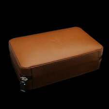 COHIBA Brown Leather Cedar Cigar Case Humidor W/ Cutter Lighter 4 Count
