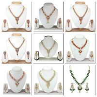 Gold Plated Wedding & Party Jewelry Necklace Set Indian Bollywood Fashion Style