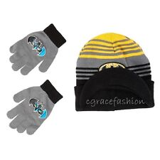 DC Comics Batman Logo Kid Boys Beanie Winter Ski Cap/Hat Brim Visor Gloves Set