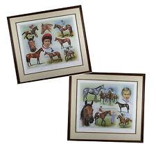 Pair Original Lester Piggott Ltd Ed Prints Oaks Ledgers Winners Peter Deighan