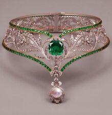 ANTIQUE ROSE CUT DIAMOND 8.25ct WEDDING EMERALD PEARL CHOKER & NECKLACE JEWELRY